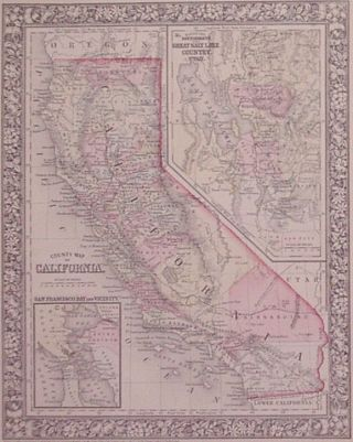 County Map of California. Samuel Augustus Jr MITCHELL.