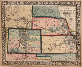 Map of Kansas, Nebraska and Colorado. Showing also the Eastern Portion of Idaho. Samuel...