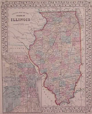 County Map of the State of Illinois. Samuel Augustus Jr MITCHELL.