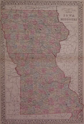 County & Township Map of the States of Iowa and Missouri. Samuel Augustus Jr MITCHELL