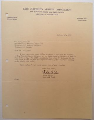 "Typed Letter Signed on ""Yale University Athletic Association"" letterhead. Ethan ALLEN, 1904 - 1993"