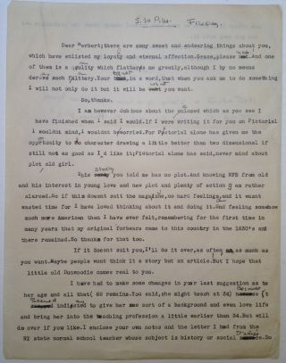Typed Letter Signed. Faith BALDWIN, 1893 - 1978