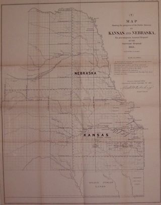 Map Showing the progress of the Public Surveys in Kansas and Nebraska, to accompany Annual Report...