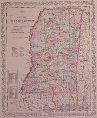 A New Map of Mississippi with its Roads & Distances. Charles DESILVER.