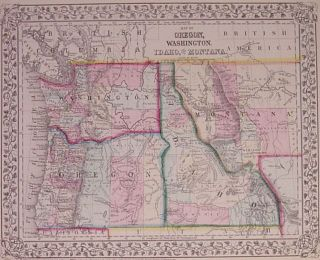 Map of Oregon, Washington, Idaho and part of Montana. Samuel Augustus Jr MITCHELL