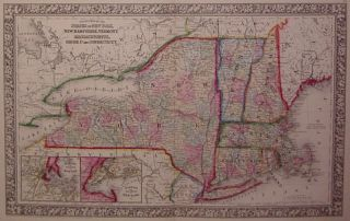 County Map of the States of New York, New Hampshire, Vermont. Massachusetts, Rhode Id. and Connecticut. Samuel Augustus Jr MITCHELL.