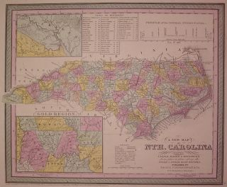 A New Map of Nth. Carolina with its Canals, Roads & Distances from place to place, along the...