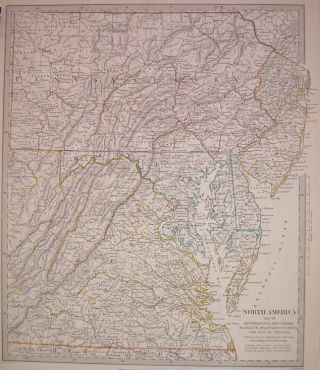 North America Sheet VII Pennsylvania, New Jersey, Maryland, Delaware, Columbia and Part of Virginia. SDUK, Society for the Diffusion of Useful Knowledge.