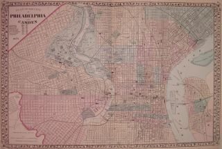 Plan of the City of Philadelphia and Camden. Samuel Augustus Jr MITCHELL.