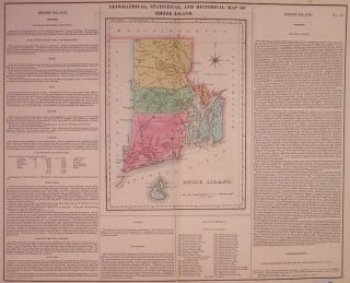 Geographical, Historical, and Statistical Map of Rhode Island. CAREY, LEA