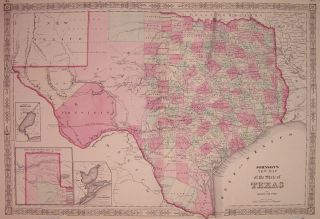 Johnson's New Map of the State of Texas. JOHNSON, WARD.