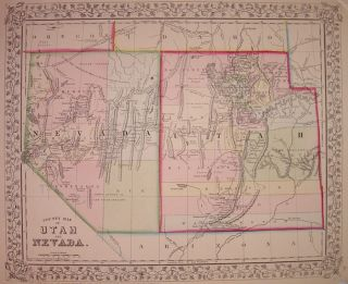 County Map of Utah and Nevada. Samuel Augustus Jr MITCHELL