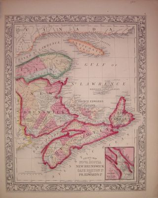 County Map of Nova Scotia New Brunswick Cape Breton Id. and Pr. Edward's Id. Samuel Augustus Jr...