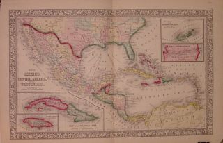 Map of Mexico, Central America, and the West Indies. Samuel Augustus Jr MITCHELL.