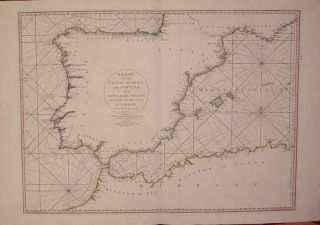 A Chart of the Coasts of Spain and Portugal, with the Balearic Islands, and Part of the Coast of Barbary. Louis Stanislas d'Arcy DELAROCHETTE.