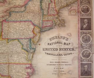 Phelps's National Map of the United States, a Traveller Guide. Embracing the Principal Rail Roads, Canals, Steamboat & Stage Routes, throughout the Union.