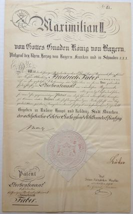 Signed Document. MAXIMILLIAN II, 1811 - 1864