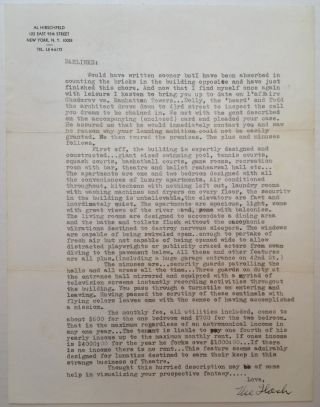 Amusing, Lengthy Typed Letter Signed. Al HIRSCHFELD, 1903 - 2003