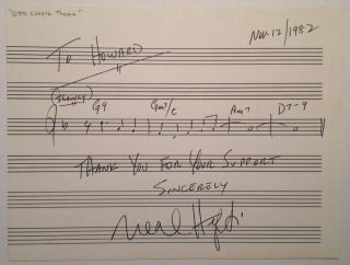 Signed Musical Quotation. Neal HEFTI, 1922 - 2008