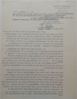 Typed Letter Signed in German