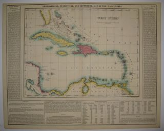 Geographical, Statistical, and Historical Map of the West Indies. CAREY, LEA