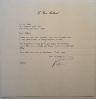 "Typed Letter Signed ""Ron"" on personal stationery. L. Ron HUBBARD, 1911 - 1986"