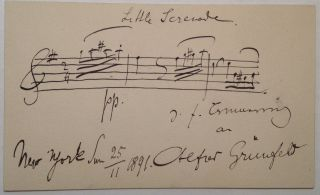 Musical Quotation Signed on the back of his Calling Card. Alfred GRUNFELD, 1852 - 1924