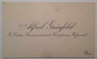 Musical Quotation Signed on the back of his Calling Card