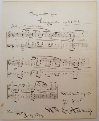 Music Manuscript Signed. William E. ASHMALL, 1859 - 1927