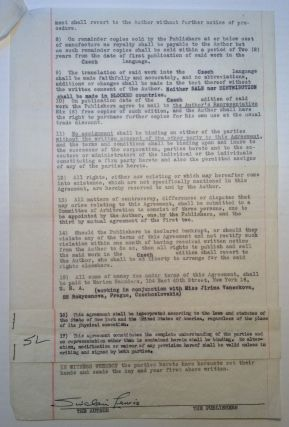 Typed Contract Signed regarding a Czechoslovakian publishing deal. Sinclair LEWIS, 1885 - 1951
