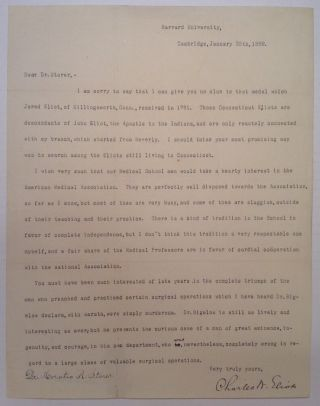 Typed Letter Signed by the President of Harvard. Charles W. ELIOT, 1834 - 1926