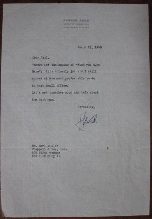Typed Letter Signed on personal letterhead. Harold ROME, 1908 - 1993