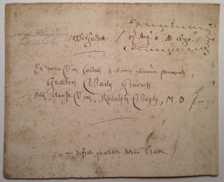 Autographed Document Signed. Thomas GUIDOTT, 1638 - 1706