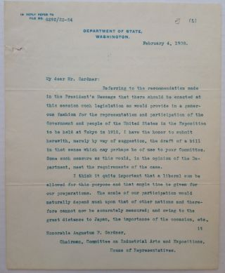 "Typed Letter Signed on ""Department of State"" letterhead. Elihu ROOT, 1845 - 1937"