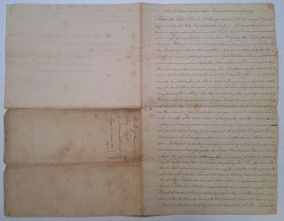 Signed Document regarding the purchase of land from a Revolutionary War veteran. Peter HUGHES