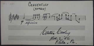 Autographed Musical Quotation. Carlton COOLEY, 1898 - 1981