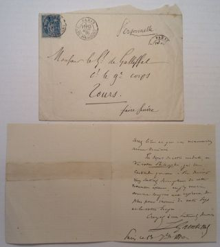 Autographed Letter Signed in French. Leon GAMBETTA, 1838 - 1882