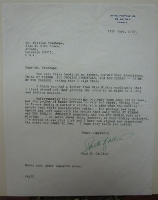 Typed Letter Signed about damaged books. Paul GALLICO, 1897 - 1976.