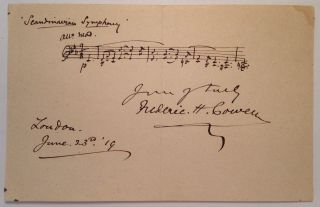 "Autographed Musical Manuscript with three bars of music from ""Scandinavian Symphony"" Frederic H. COWEN, 1852 - 1935."