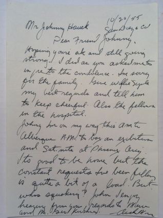 Autographed Letter Signed to a boxing historian. Archie MOORE, 1916 - 1998