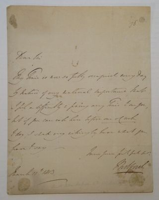 Fine Autograph Letter Signed. John RUSSELL, 6th Duke of Bedford, 1766 - 1839