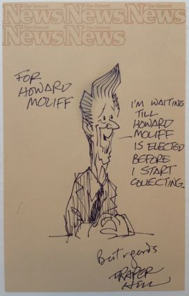 Original Signed Cartoon of Ronald Reagan. Draper HILL, 1935 - 2009