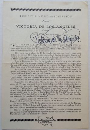 Signed Program. Victoria DE LOS ANGELES, 1923 - 2005