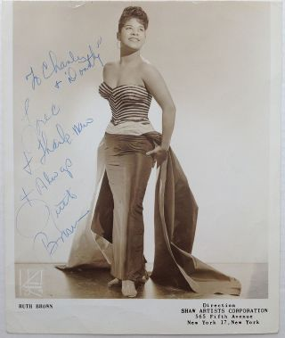 Inscribed Vintage Photograph. Ruth BROWN, 1928 - 2006