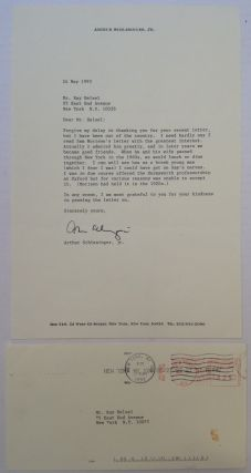 Typed Letter Signed on personal stationery. Arthur M. SCHLESINGER, Jr.