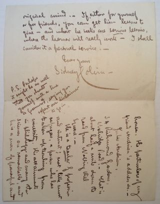 "Autographed Letter Signed on ""Savile Club"" stationery. Sidney COLVIN, 1845 - 1927"