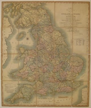 Cary's Reduction of his Larger Map of England and Wales with Part of Scotland; Containing the whole of the Turnpike Roads, the Principal Rivers & the course of the idfferent Navigable Canals. John CARY.