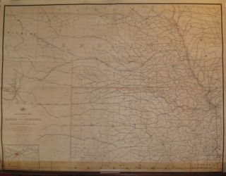 Post Route Map of the States of Kansas and Nebraska with Adjacent Parts of Missouri, Iowa,...