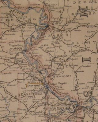 Post Route Map of the States of Kansas and Nebraska with Adjacent Parts of Missouri, Iowa, Dakota, Colorado, Texas and Indian Territory showing Post Offices with the Intermediate Distances and Mail Routes in Operation on the 1st of December 1893