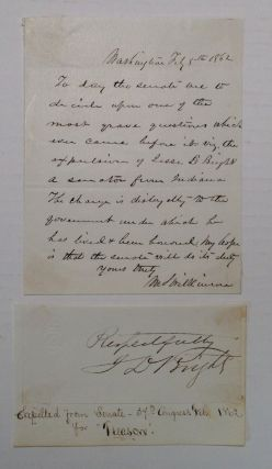 Historically Important Autographed Letter Signed. MORTON S. WILKINSON, 1819 - 1894